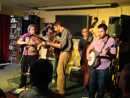 Stacy Phillips and His Bluegrass Characters at Best Video July, 2014.