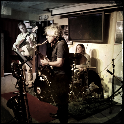 Bassist Bill Mangan, saxophonist Steve Asetta and drummer Ned Grant of The Monk Project Band.