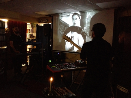 "Light Upon Blight improvising a live score to ""Haxan: Witchcraft Through the Ages"" at Best Video Performance Space in 2015."