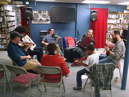 Making music at the first klezmer jam in October, 2016.
